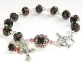 Saint Benedict Rosary Bracelet, Lampwork Glass Rose & Black Beads, handmade