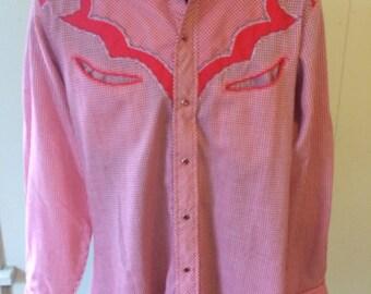 Karman Gingham Western Shirt - Size Medium