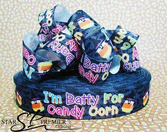 "7/8"" Batty for Candy Halloween Grosgrain Ribbon"