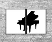 Music Poster Black Piano Art - Music Instrument Piano - Modern Graphic Digital Art Poster Print Teen Bedroom