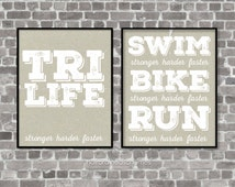 Fitness Digital Art Triathlon Print Art Typography Poster Print Triathlon Gift for Triathlete Ironman Exercise Athlete Art Kraft Gray