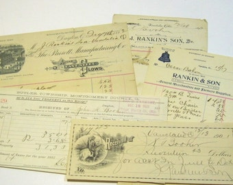 Antique Ephemera, Victorian Ephemera: 1890s Handwritten Receipts and Notes, Russian Bank Note, 6 Pieces