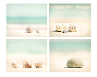 Beach Decor, Aqua Beach Photo Set of Four, beach photography, wall art, beach print, shell print, shore house, ocean waves, beach decor