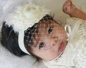 Baptism Headband   Vintage Christening Headband .. Birdcage Veil Headband Baptism Christening headband