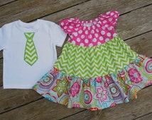 Brother and Sister Matching Outfits - Girl's Toddlers Colorful Twirly Tiered Peasant Dress with Brother Applique TIe Shirt
