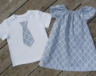 Brother and Sister Matching Outfits - Girl's Gray Quatrefoil Peasant Dress with Brother Appliqued Tie Shirt
