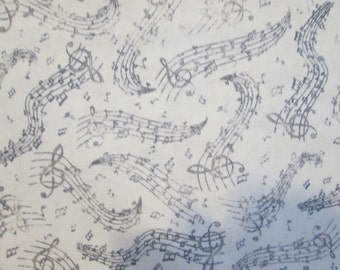Music Lines Wavy White Black Cotton Fabric Fat Quarter Or Custom Listing