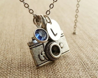 Initial Necklace. Silver Camera Necklace. Swarovski Birthstone. Personalized Gift. Camera Pendant. Gift Under 30