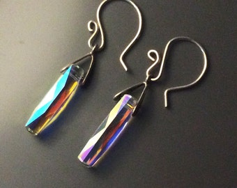 The Wave, or Column---Swarovski AB crystal earrings. Simple. Elegant, Contemporary, sparky. With Argentium Sterling earwires.