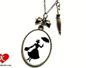 Miss Poppins Silhouette Necklace bronzecolored - nanny england fairy tale musical umbrella sister best friend daughter gift jewelry