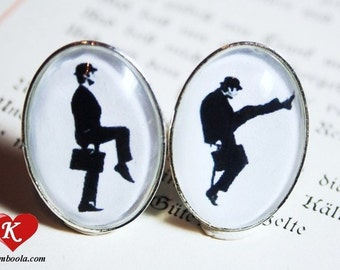 Mister Silly Silhouette Cufflinks silvercolored - british humour funny jewelry for man men boyfriend husband brother father gift