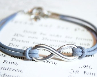 Eternity Infinity Leather Bracelet silvercolored- friendship forever twin sister best friend mother daughter cousin besties bff gift jewelry