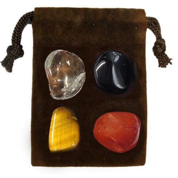 PROTECTION - Meditation Stone Set, Crystal Healing Gemstone Kit, Tumbled Gemstone Healing Set, 4 Stones, Pouch, Card