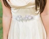 Short LAURETTE beaded sash, wedding  beaded belt,  Bridal sash, wedding dress sash, wedding belt, rhinestone beaded sash