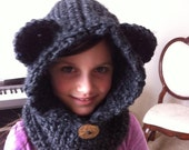 Bear hood cowl - made to order - infant toddler child adult sizes