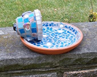 Mosaic garden sculpture, bird bath, bird feeder