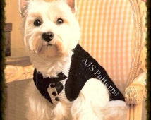 PDF Knitting Pattern - Smart Tuxedo Jacket/Coat for Dogs - Instant Download