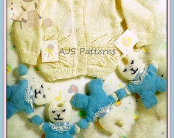 """PDF Knitting Pattern for Leaf Pattern Cardigan to Fit 18-24"""" Chests & Cot/Pram Toy - Instant Download"""