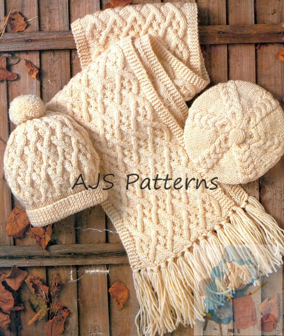 PDF Knitting Pattern for Aran Beret Hat & Scarf to fit Adults