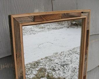 SOLD Medium Rustic Barnwood Mirror no.1500