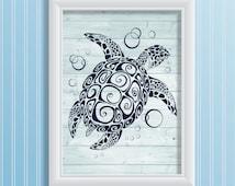 Sea turtle art print navy blue wood art