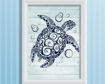 Sea turtle art print navy blue wood art