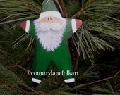 Santa ornament, hand painted, christmas ornament, green suit Santa, country Christmas