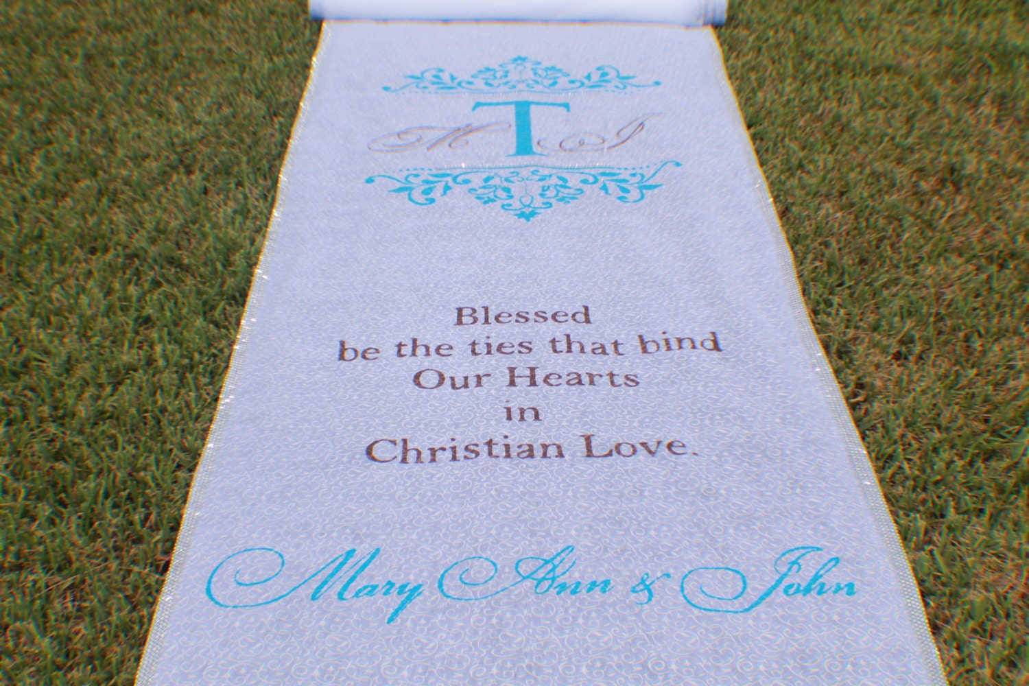 Monogrammed Aisle Runner Embellished With Bling Glitter And
