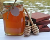 Tea Lover Gift Set, Honey, Wood Coasters & Dippers, Edible Gift Ideas