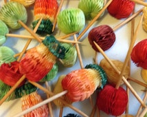 76 Vintage Honeycomb Paper Picks, Toothpick.  Hawaiiana, Vintage 1960, Eames era.  Tiki Bar Decor.  Luau Party.  Let's Hula!