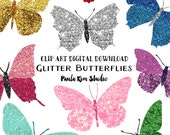 Pretty Faux Glitter Butterfly Clipart, Instant Download, Butterflies, Glitter Clip Art, Commercial Use, Wedding Clipart