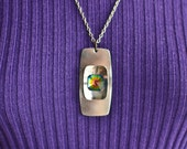 Vintage 1960s 1970s stainless steel necklace with rainbow coloured stone pendant on silvertone chain