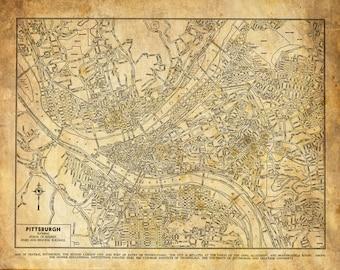 Pittsburgh Map - Street Map Vintage Grunge Sepia Print Poster