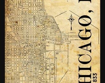 Chicago Street Map Vintage Print Poster Titled Grunge