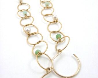 Ocean Bubbles Earrings - Chrysoprase & Keshi Pearls - 14k Gold Fill