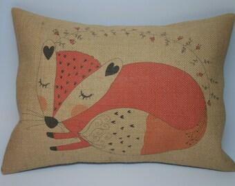 Fox Burlap Pillow, Woodland Animal Nursery, INSERT INCLUDED