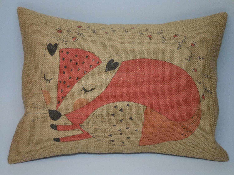 Animal Nursery Pillows : Fox Burlap Pillow Woodland Animal Nursery INSERT INCLUDED