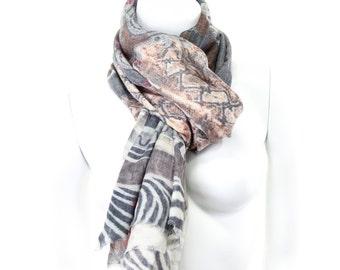 Silk Wool- Digital Print- Leopard- Tiger- Animal Print- Violet- Lavender- Collage