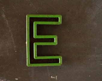 "Vintage Industrial Letter ""E"" Black with Green and Red Paint, 2"" tall (c.1940s) - Monogram Display, Shadow Box Letter, Art Supply"