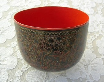 Thai Lacquered Bowl, hand-crafted, hand-painted, fanciful elephant design, bendable material, purchased in Thailand
