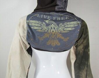 "T-Shirt Hood with Sleeves Hood-T ""Live Free"""