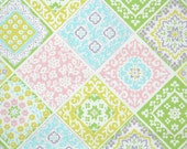 Vintage Wallpaper by the Yard 60s Retro Wallpaper - 1960s Pastel Pink Green Yellow and Blue Patchwork Geometric Squares with Flowers