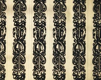 Flock Retro Wallpaper -1970s Vintage Wallpaper - Flocked Gold and Black Stripe