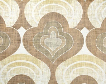 Retro Wallpaper by the Yard 70s Vintage Wallpaper - 1970s Brown and Tan Mod Damask