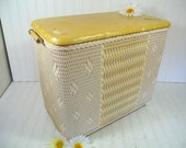 Vintage Spring Yellow & Ivory Wicker Wooden Clothes Hamper - Early Petite Burlington Basket Hawkeye Laundry Bin - Shabby Chic Storage Basket
