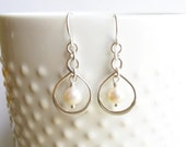 Sterling Silver Infinity Freshwater Pearl Earrings --Bridesmaids Gift -- Mother of the Bride