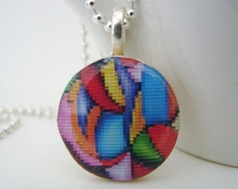 Bright Colors Abstract Pendant with Free Necklace