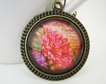 Antiqued Dahlia Pendant with Free Necklace
