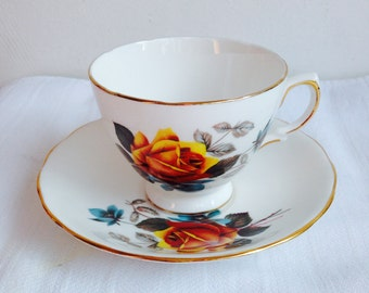 Yellow and Turquoise Rose Tea Cup and Saucer Sets vintage  Royal Vale English Bone China Afternoon Tea Parties Wedding Anniversary Gifts