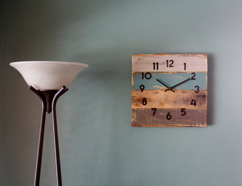 Rustic Beach House Decor. Coastal Theme Reclaimed Wood Clock